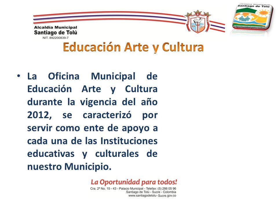 La Oficina Municipal de Educación Arte y Cultura durante la vigencia del año 2012, se caracterizó por servir como ente de apoyo a cada una de las Inst