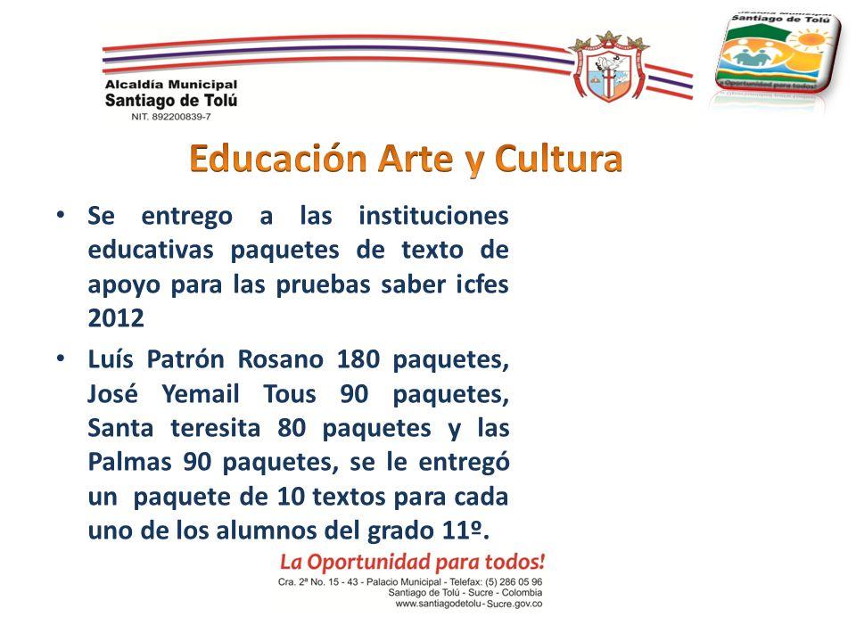 Se entrego a las instituciones educativas paquetes de texto de apoyo para las pruebas saber icfes 2012 Luís Patrón Rosano 180 paquetes, José Yemail To