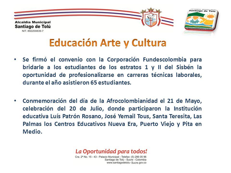 Se firmó el convenio con la Corporación Fundescolombia para bridarle a los estudiantes de los estratos 1 y II del Sisbén la oportunidad de profesional