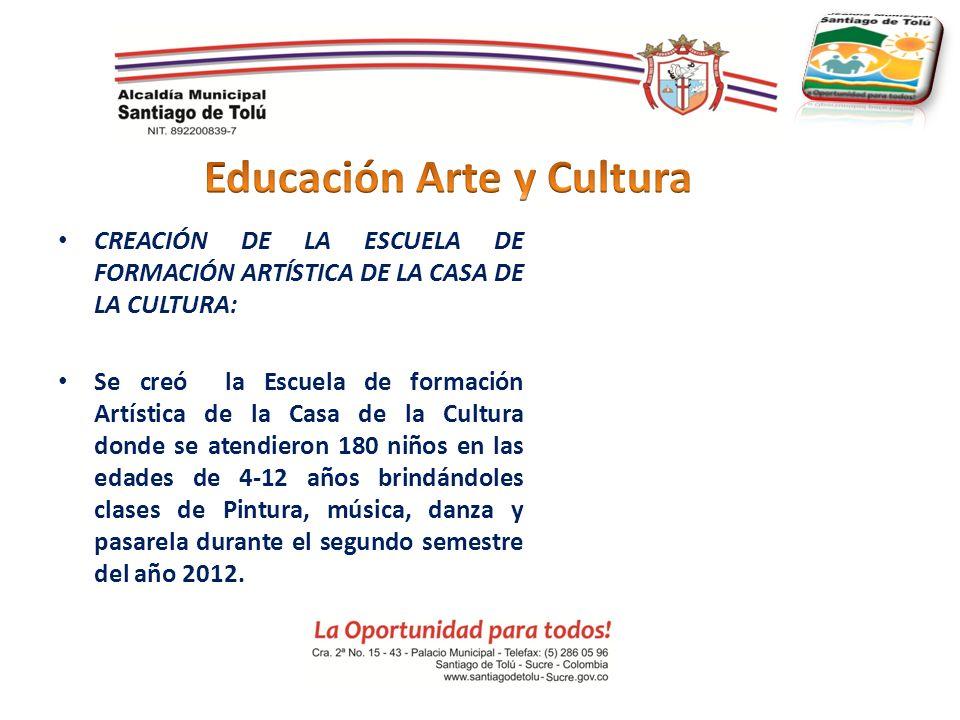 CREACIÓN DE LA ESCUELA DE FORMACIÓN ARTÍSTICA DE LA CASA DE LA CULTURA: Se creó la Escuela de formación Artística de la Casa de la Cultura donde se at