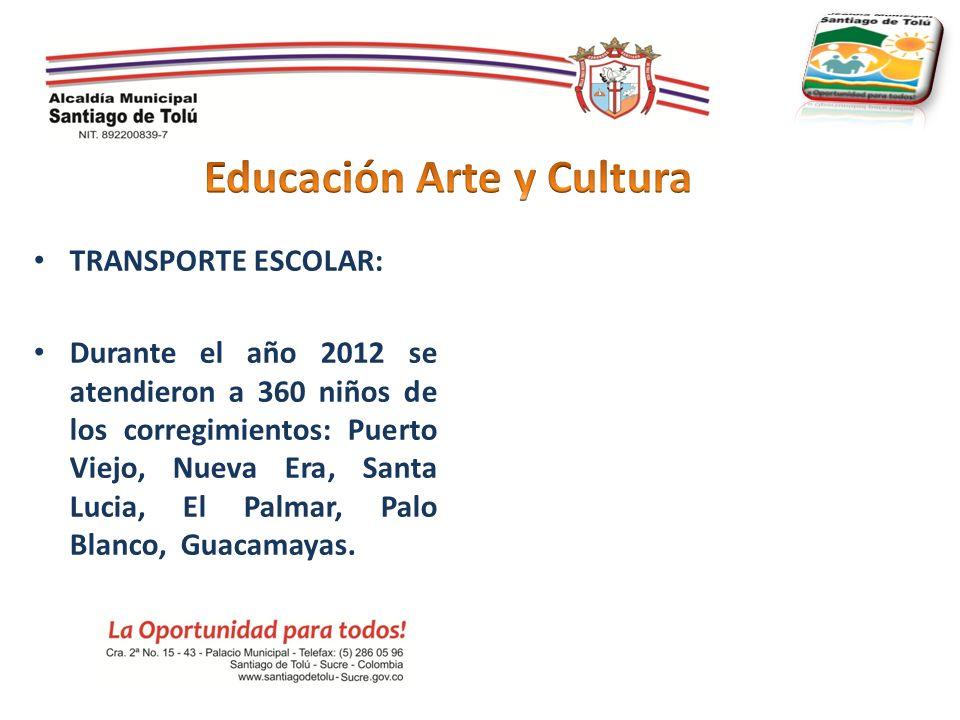 TRANSPORTE ESCOLAR: Durante el año 2012 se atendieron a 360 niños de los corregimientos: Puerto Viejo, Nueva Era, Santa Lucia, El Palmar, Palo Blanco,