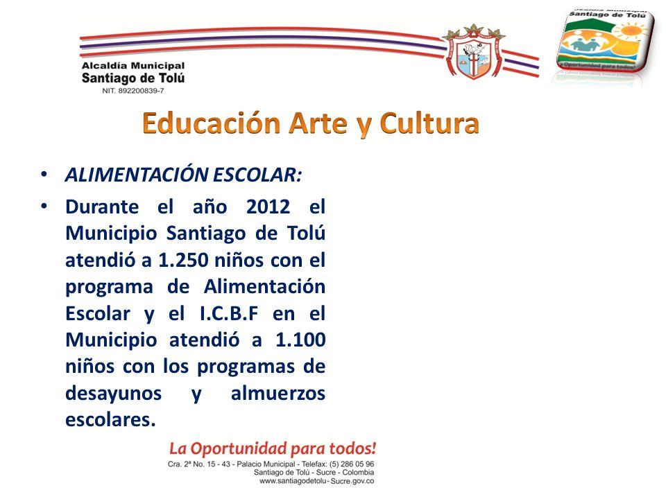 ALIMENTACIÓN ESCOLAR: Durante el año 2012 el Municipio Santiago de Tolú atendió a 1.250 niños con el programa de Alimentación Escolar y el I.C.B.F en