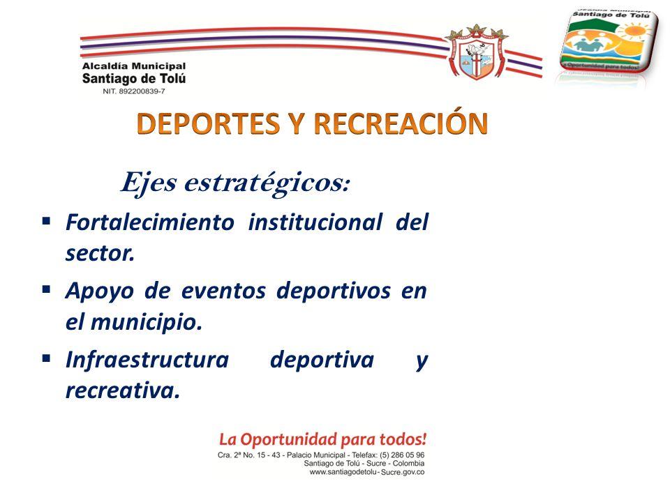 Ejes estratégicos: Fortalecimiento institucional del sector. Apoyo de eventos deportivos en el municipio. Infraestructura deportiva y recreativa.