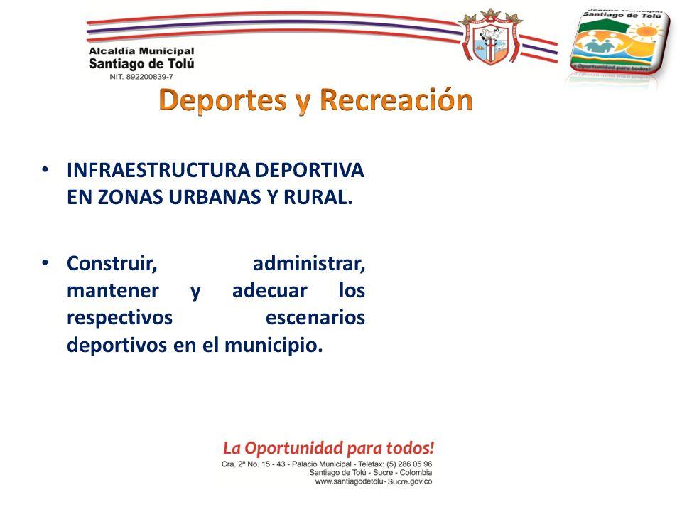 INFRAESTRUCTURA DEPORTIVA EN ZONAS URBANAS Y RURAL. Construir, administrar, mantener y adecuar los respectivos escenarios deportivos en el municipio.