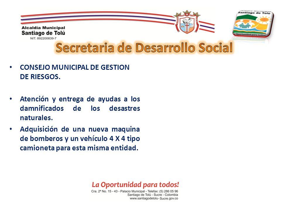 CONSEJO MUNICIPAL DE GESTION DE RIESGOS. Atención y entrega de ayudas a los damnificados de los desastres naturales. Adquisición de una nueva maquina