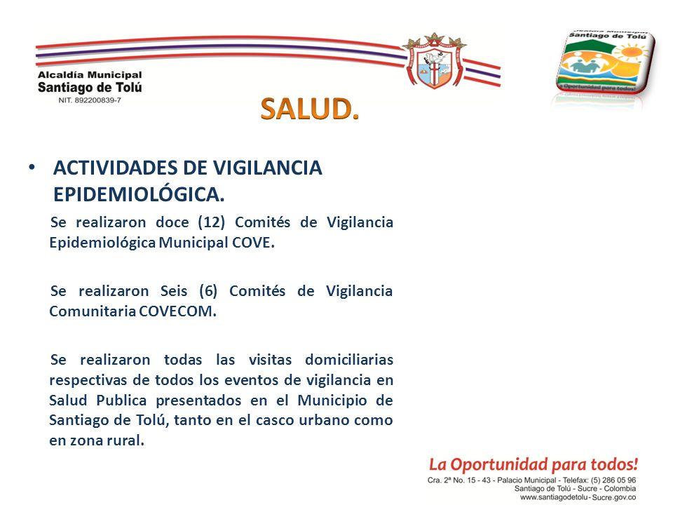 ACTIVIDADES DE VIGILANCIA EPIDEMIOLÓGICA. Se realizaron doce (12) Comités de Vigilancia Epidemiológica Municipal COVE. Se realizaron Seis (6) Comités