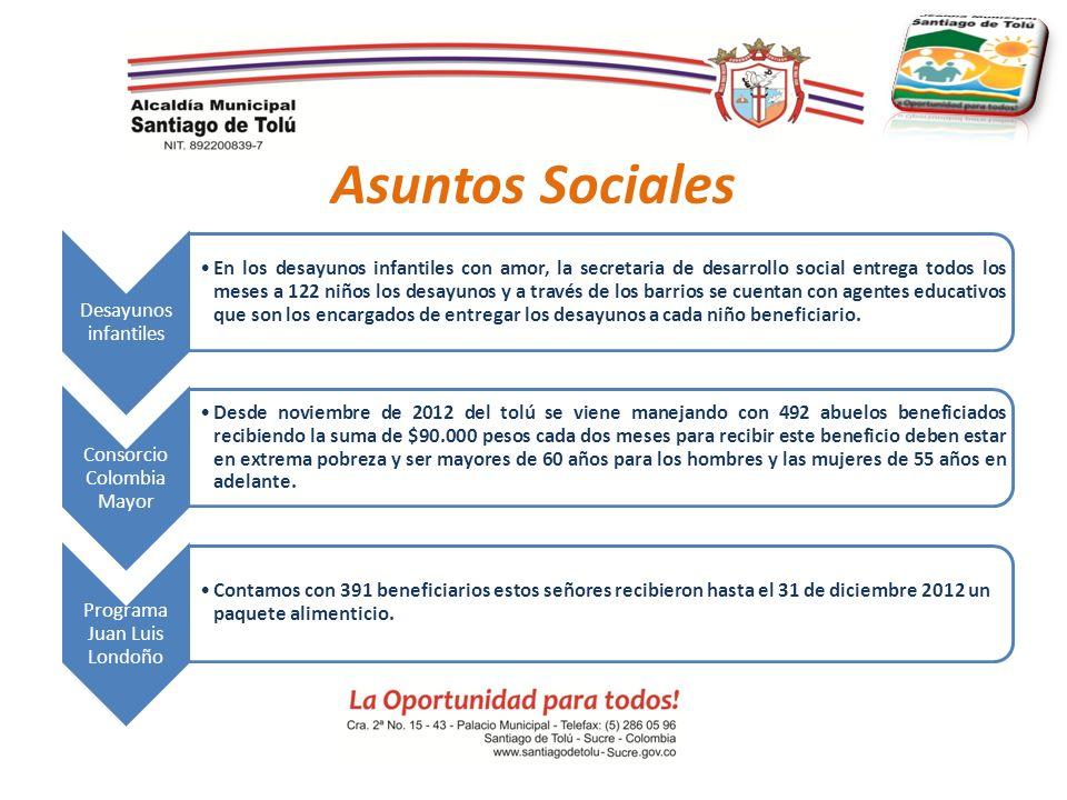 Asuntos Sociales Desayunos infantiles En los desayunos infantiles con amor, la secretaria de desarrollo social entrega todos los meses a 122 niños los