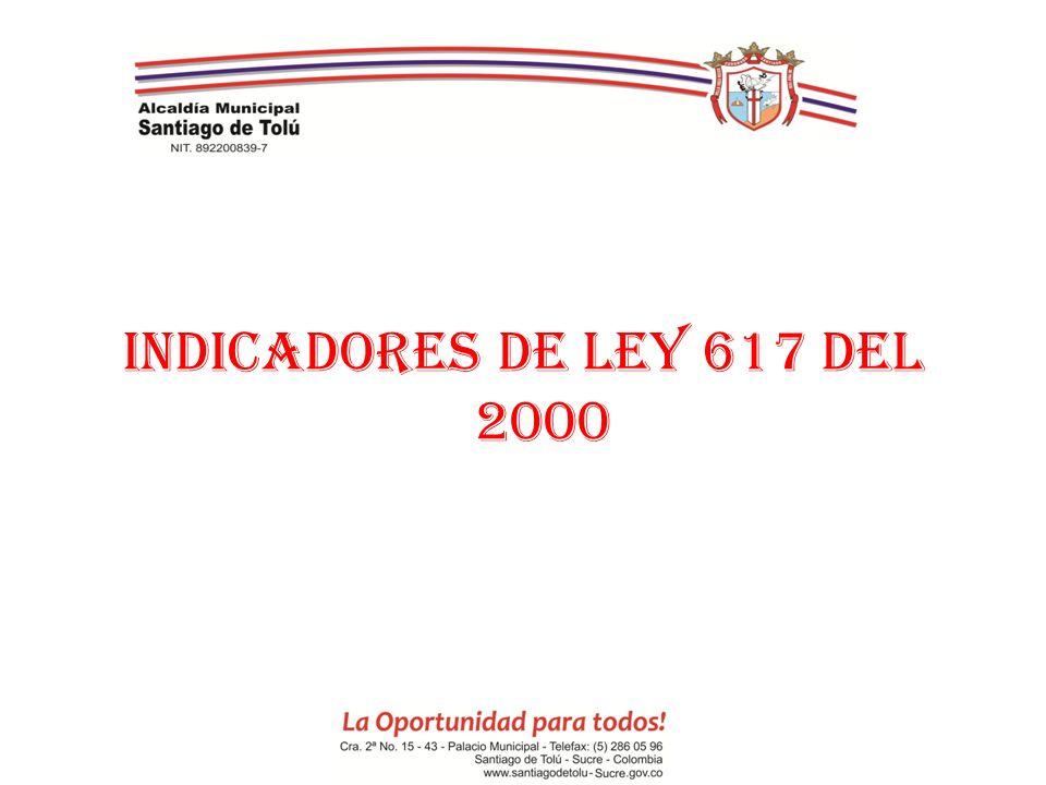 INDICADORES DE LEY 617 DEL 2000