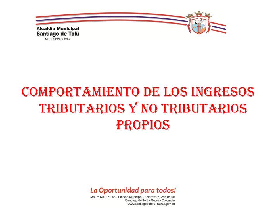 COMPORTAMIENTO DE LOS INGRESOS TRIBUTARIOS Y NO TRIBUTARIOS PROPIOS