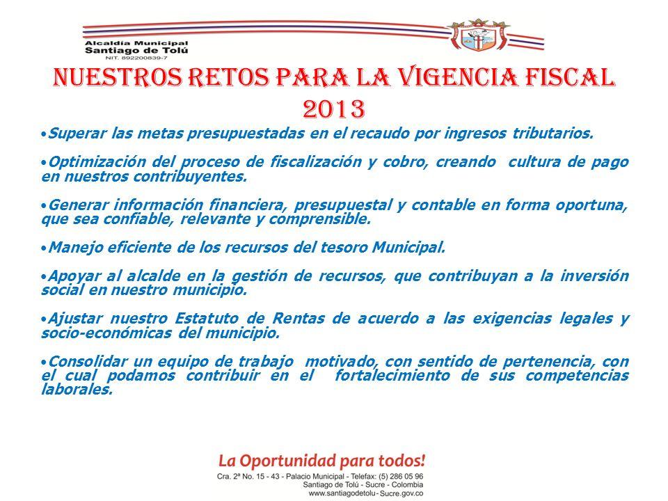 NUESTROS RETOS PARA LA VIGENCIA FISCAL 2013 Superar las metas presupuestadas en el recaudo por ingresos tributarios. Optimización del proceso de fisca