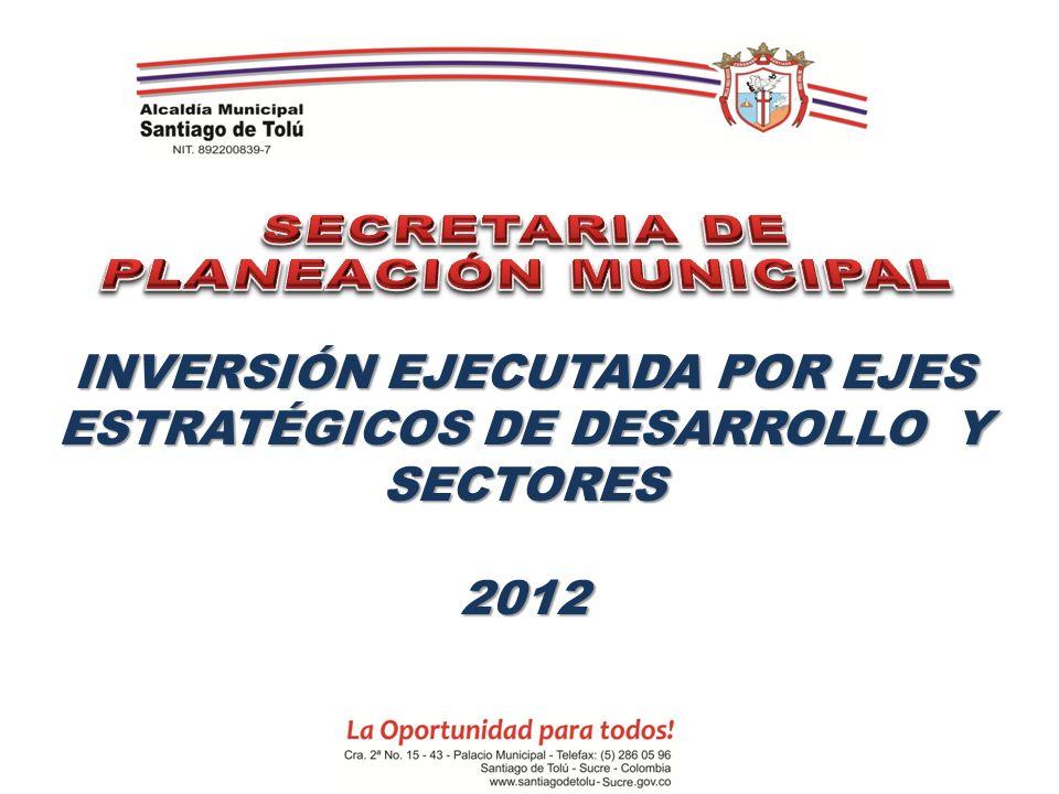 INVERSIÓN EJECUTADA POR EJES ESTRATÉGICOS DE DESARROLLO Y SECTORES 2012