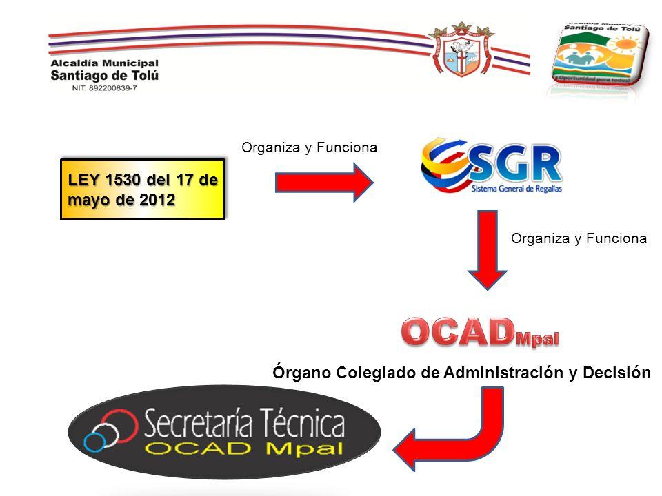 LEY 1530 del 17 de mayo de 2012 Organiza y Funciona Órgano Colegiado de Administración y Decisión