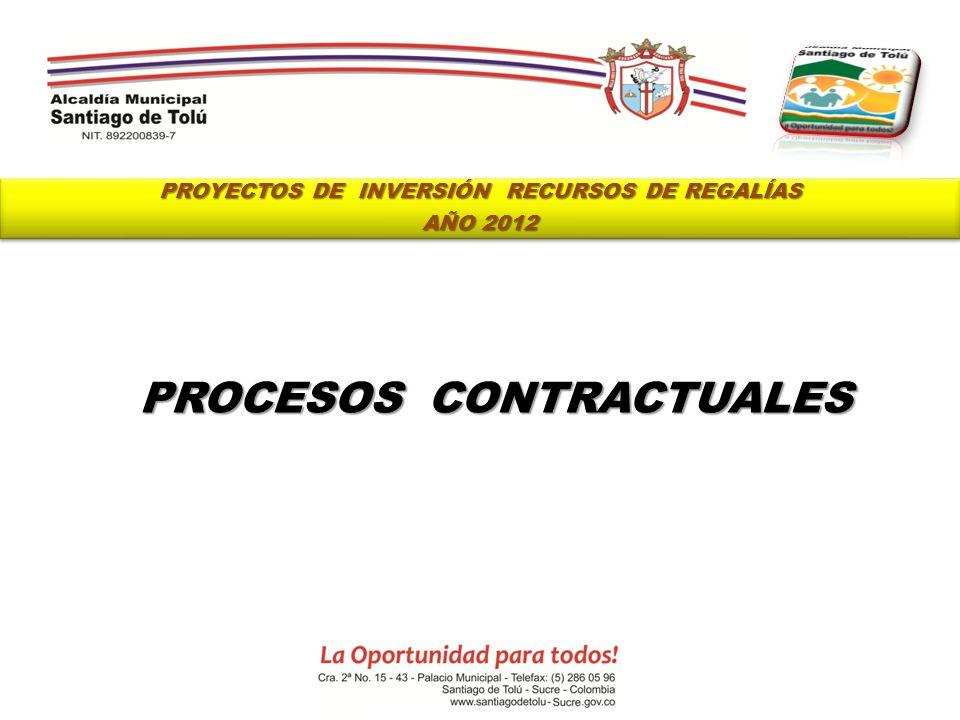 PROYECTOS DE INVERSIÓN RECURSOS DE REGALÍAS AÑO 2012 PROYECTOS DE INVERSIÓN RECURSOS DE REGALÍAS AÑO 2012 PROCESOS CONTRACTUALES