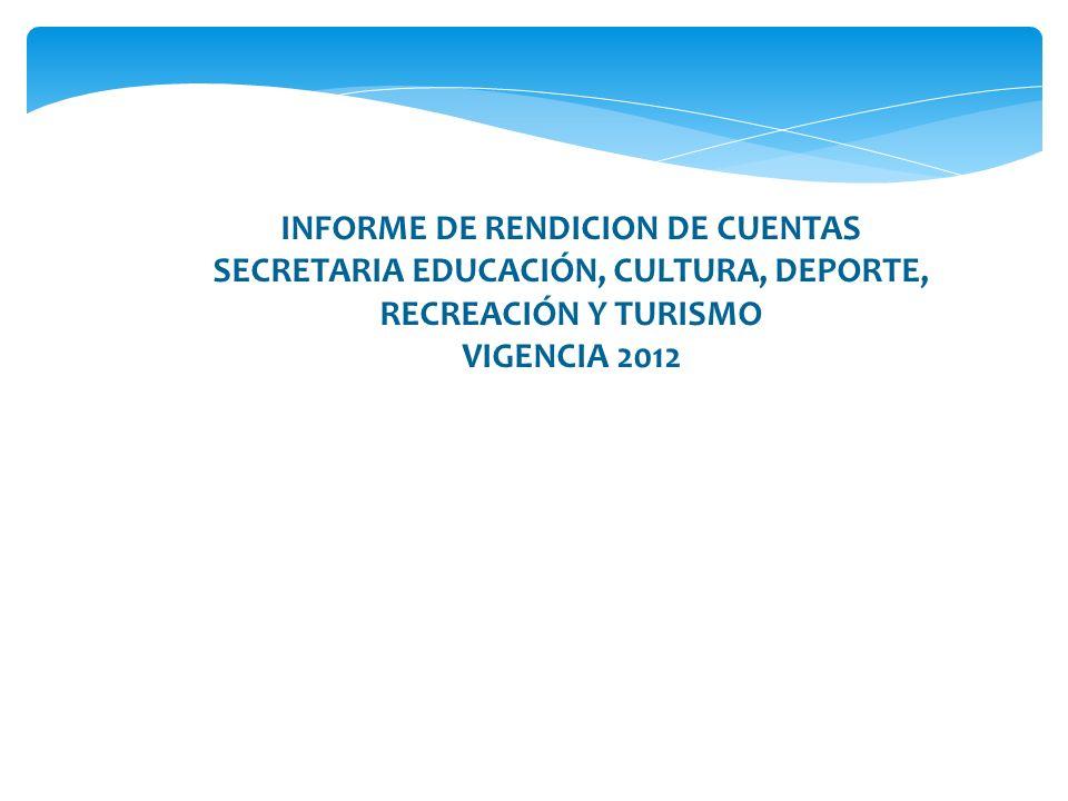 INFORME DE RENDICION DE CUENTAS SECRETARIA EDUCACIÓN, CULTURA, DEPORTE, RECREACIÓN Y TURISMO VIGENCIA 2012 Funcionario: Mónica Janeth Eraso Mora