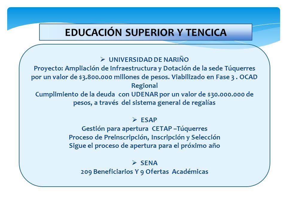 UNIVERSIDAD DE NARIÑO Proyecto: Ampliación de Infraestructura y Dotación de la sede Túquerres por un valor de $3.800.000 millones de pesos. Viabilizad