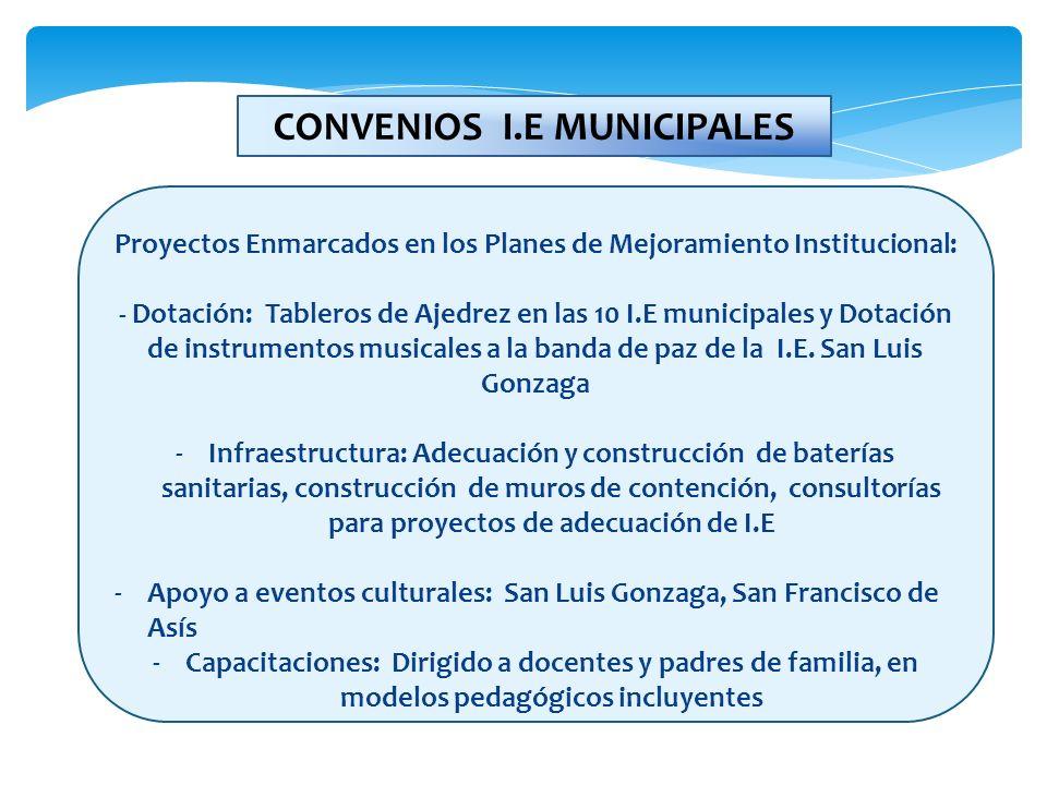 Proyectos Enmarcados en los Planes de Mejoramiento Institucional: - Dotación: Tableros de Ajedrez en las 10 I.E municipales y Dotación de instrumentos
