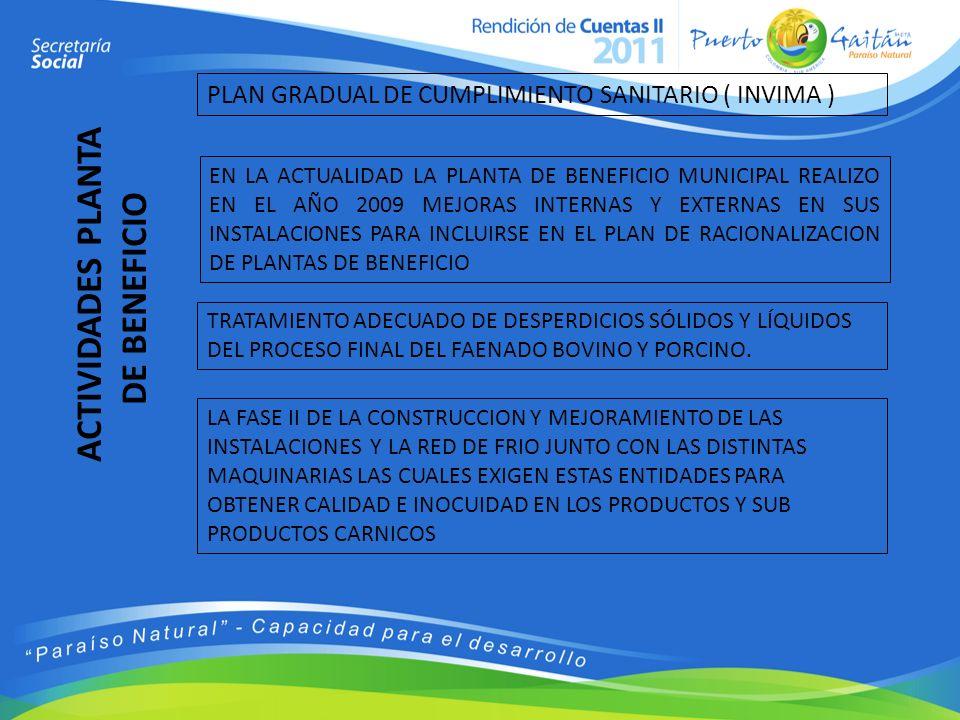 PLAN GRADUAL DE CUMPLIMIENTO SANITARIO ( INVIMA ) EN LA ACTUALIDAD LA PLANTA DE BENEFICIO MUNICIPAL REALIZO EN EL AÑO 2009 MEJORAS INTERNAS Y EXTERNAS
