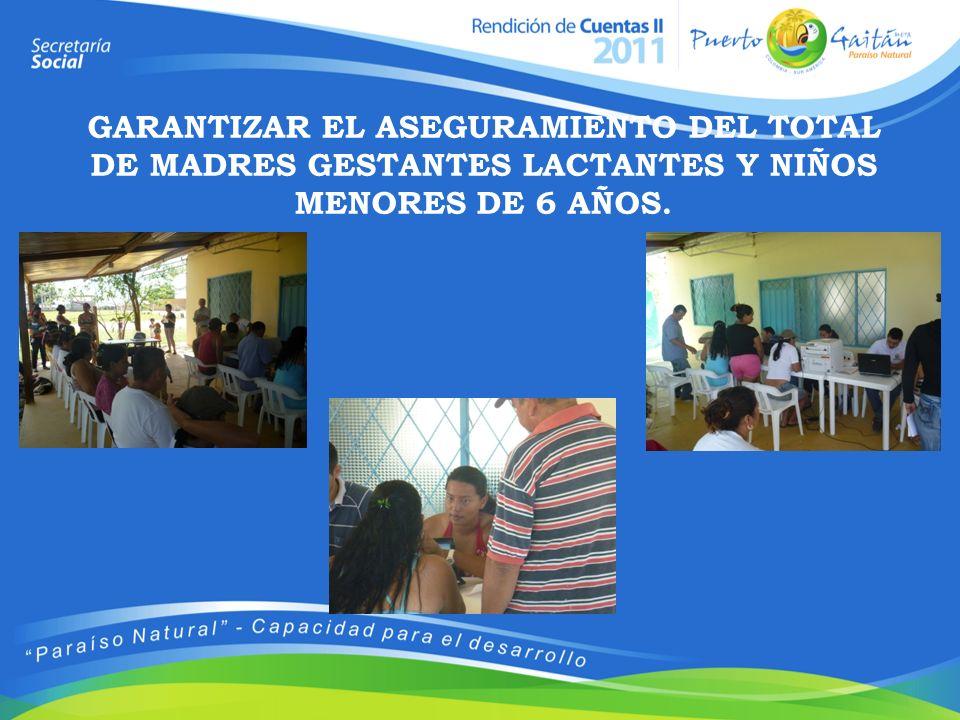 GARANTIZAR EL ASEGURAMIENTO DEL TOTAL DE MADRES GESTANTES LACTANTES Y NIÑOS MENORES DE 6 AÑOS.