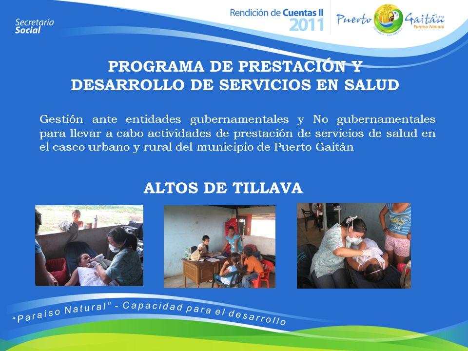 PROGRAMA DE PRESTACIÓN Y DESARROLLO DE SERVICIOS EN SALUD Gestión ante entidades gubernamentales y No gubernamentales para llevar a cabo actividades d