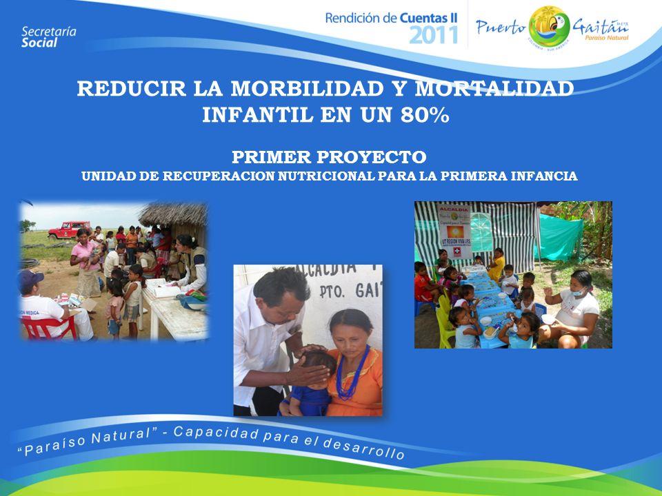 PRIMER PROYECTO UNIDAD DE RECUPERACION NUTRICIONAL PARA LA PRIMERA INFANCIA REDUCIR LA MORBILIDAD Y MORTALIDAD INFANTIL EN UN 80%