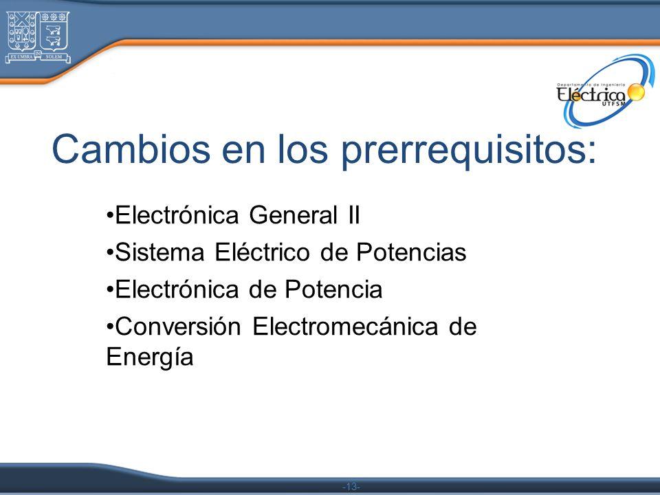 -13- Cambios en los prerrequisitos: Electrónica General II Sistema Eléctrico de Potencias Electrónica de Potencia Conversión Electromecánica de Energí
