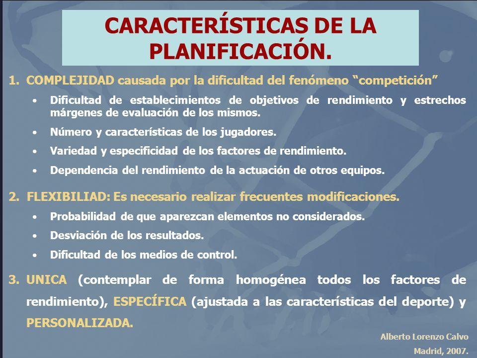 Alberto Lorenzo Calvo Madrid, 2007. CARACTERÍSTICAS DE LA PLANIFICACIÓN. 1.COMPLEJIDAD causada por la dificultad del fenómeno competición Dificultad d