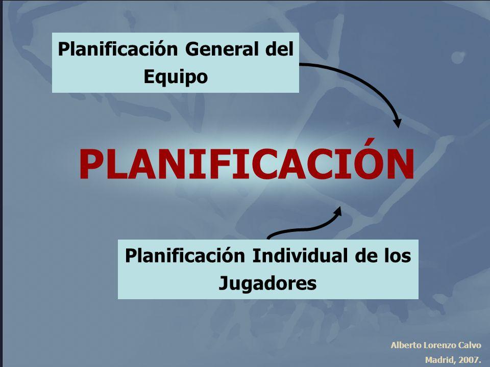 Alberto Lorenzo Calvo Madrid, 2007. PLANIFICACIÓN Planificación General del Equipo Planificación Individual de los Jugadores