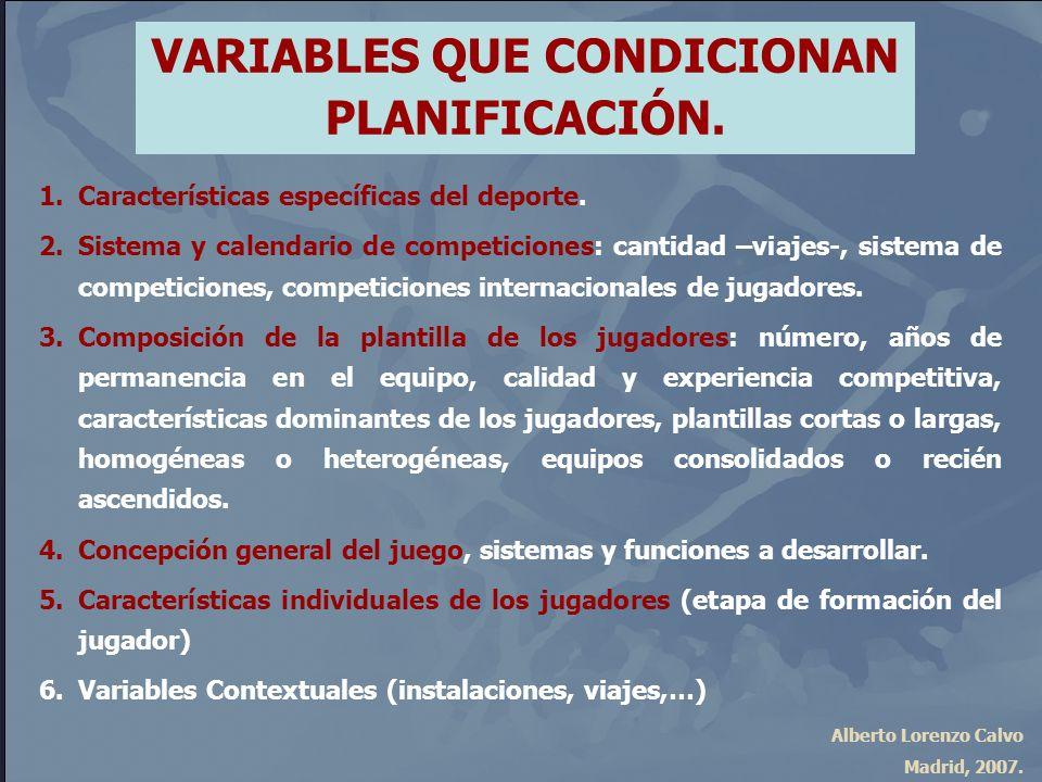 Alberto Lorenzo Calvo Madrid, 2007. VARIABLES QUE CONDICIONAN PLANIFICACIÓN. 1.Características específicas del deporte. 2.Sistema y calendario de comp