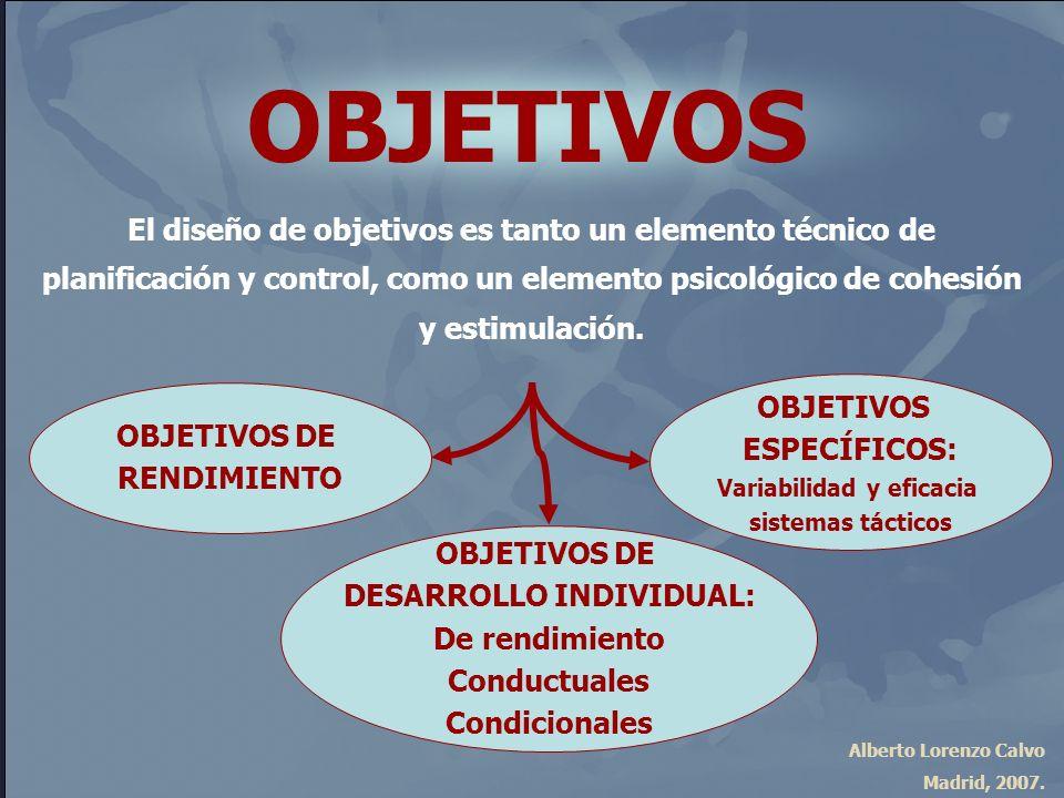 Alberto Lorenzo Calvo Madrid, 2007. OBJETIVOS El diseño de objetivos es tanto un elemento técnico de planificación y control, como un elemento psicoló