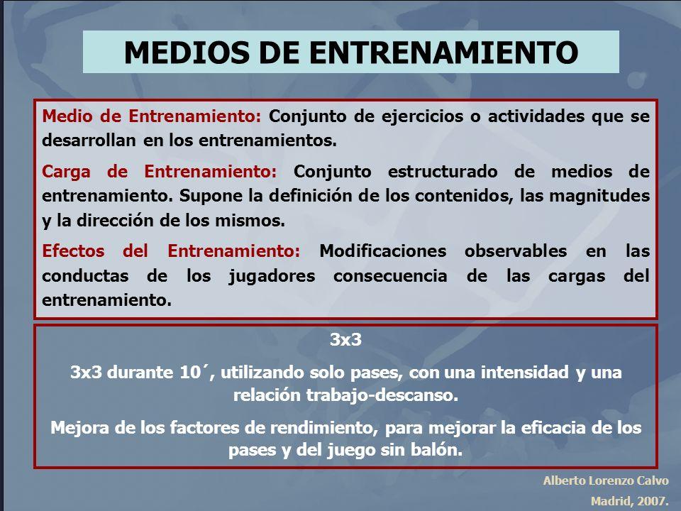 Alberto Lorenzo Calvo Madrid, 2007. MEDIOS DE ENTRENAMIENTO Medio de Entrenamiento: Conjunto de ejercicios o actividades que se desarrollan en los ent