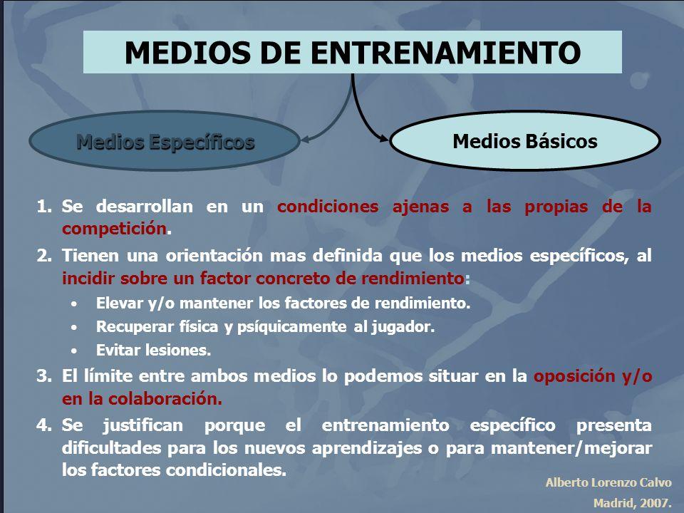 Alberto Lorenzo Calvo Madrid, 2007. MEDIOS DE ENTRENAMIENTO Medios Específicos Medios Básicos 1.Se desarrollan en un condiciones ajenas a las propias