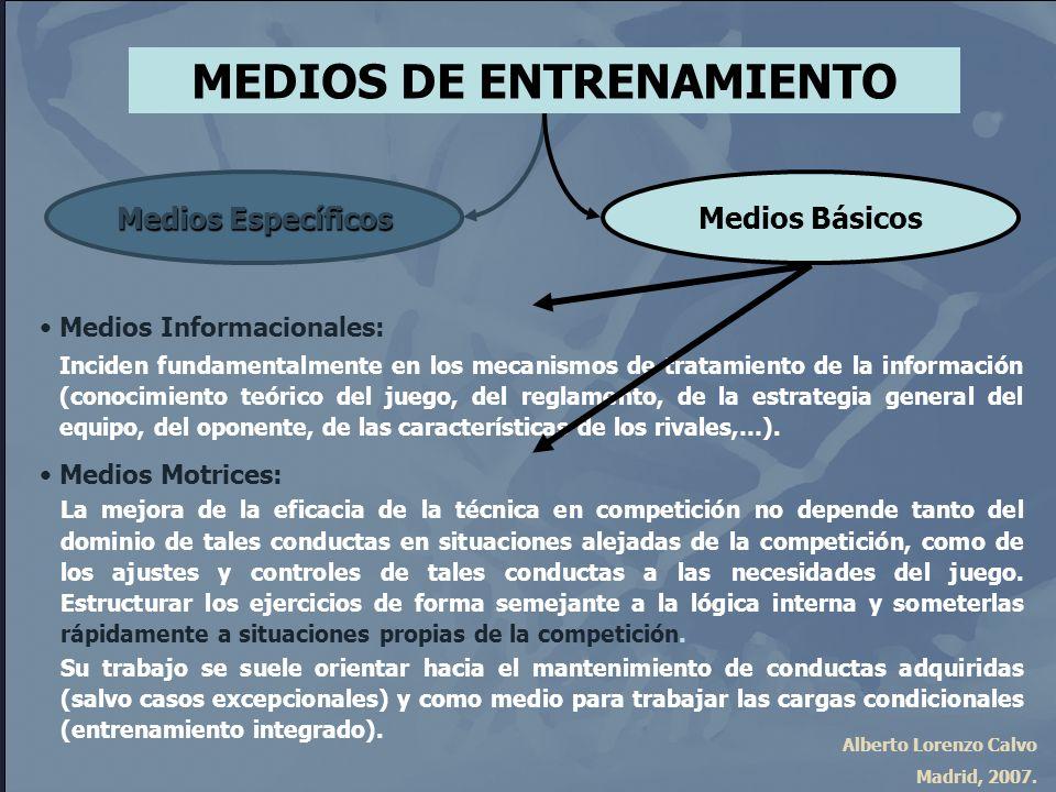 Alberto Lorenzo Calvo Madrid, 2007. MEDIOS DE ENTRENAMIENTO Medios Específicos Medios Básicos Medios Informacionales: Inciden fundamentalmente en los