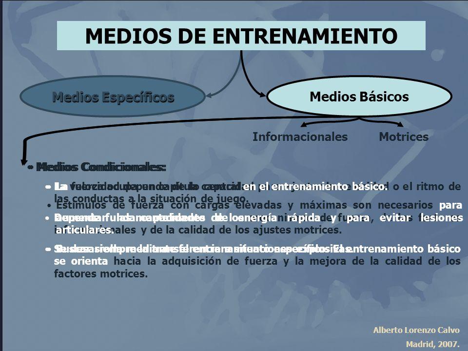 Alberto Lorenzo Calvo Madrid, 2007. Medios Condicionales: La velocidad depende de la capacidad para ajustar la velocidad o el ritmo de las conductas a