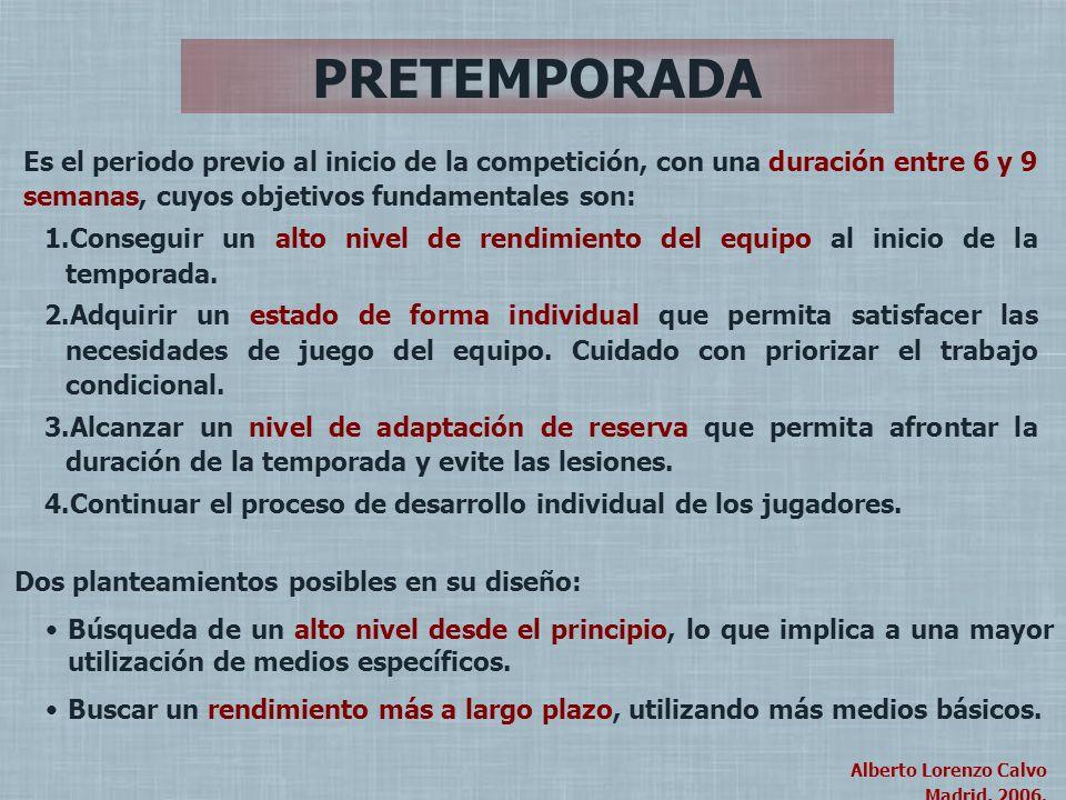 Alberto Lorenzo Calvo Madrid, 2004. Alberto Lorenzo Calvo Madrid, 2006. PRETEMPORADA Es el periodo previo al inicio de la competición, con una duració