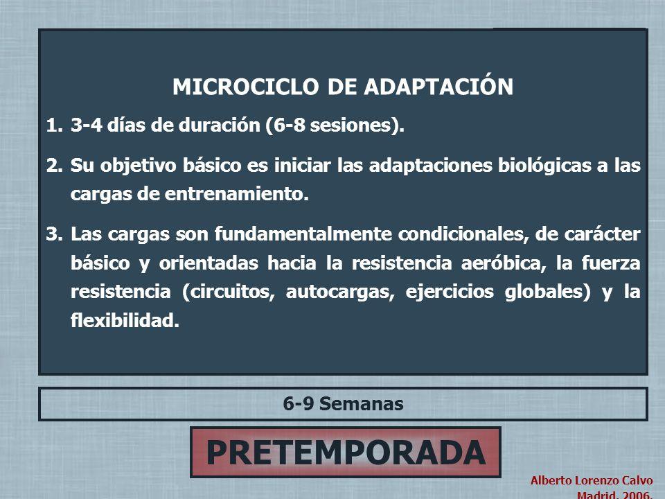 Alberto Lorenzo Calvo Madrid, 2004. Alberto Lorenzo Calvo Madrid, 2006. PRETEMPORADA 6-9 Semanas MICROCICLO DE ADAPTACIÓN (3-4 Días) PERIODO PRINCIPAL