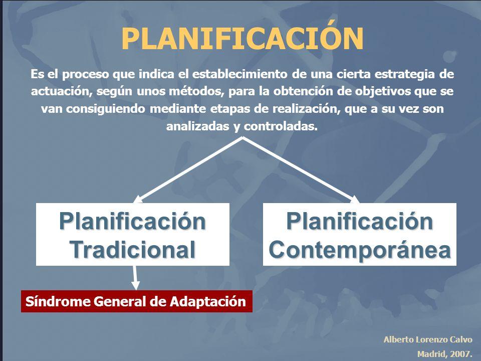 Alberto Lorenzo Calvo Madrid, 2007. PLANIFICACIÓN Es el proceso que indica el establecimiento de una cierta estrategia de actuación, según unos método