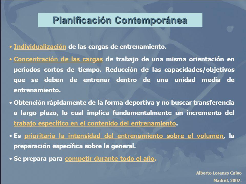 Alberto Lorenzo Calvo Madrid, 2007. Planificación Contemporánea Individualización de las cargas de entrenamiento. Concentración de las cargas de traba