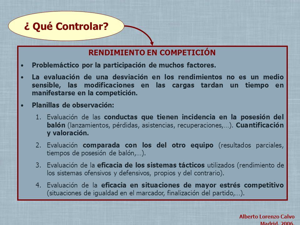 Alberto Lorenzo Calvo Madrid, 2004. Alberto Lorenzo Calvo Madrid, 2006. ¿ Qué Controlar? RENDIMIENTO EN COMPETICIÓN Problemáctico por la participación