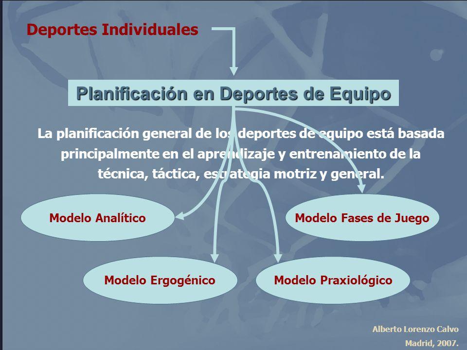 Alberto Lorenzo Calvo Madrid, 2007. Planificación en Deportes de Equipo Deportes Individuales La planificación general de los deportes de equipo está