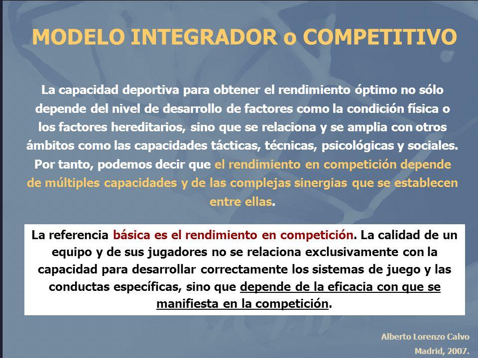 Alberto Lorenzo Calvo Madrid, 2007. MODELO INTEGRADOR o COMPETITIVO La capacidad deportiva para obtener el rendimiento óptimo no sólo depende del nive