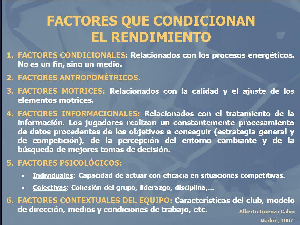 Alberto Lorenzo Calvo Madrid, 2007. FACTORES QUE CONDICIONAN EL RENDIMIENTO 1.FACTORES CONDICIONALES: Relacionados con los procesos energéticos. No es