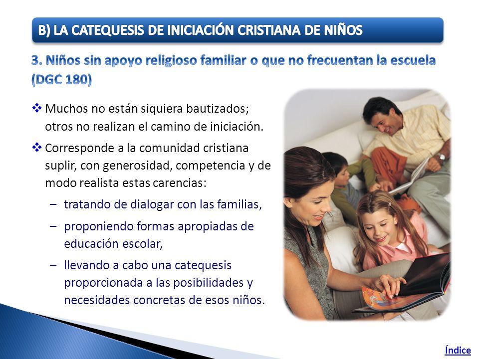 Muchos no están siquiera bautizados; otros no realizan el camino de iniciación. Corresponde a la comunidad cristiana suplir, con generosidad, competen