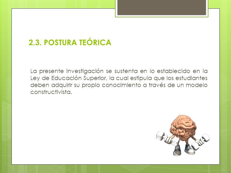 2.3. POSTURA TEÓRICA La presente investigación se sustenta en lo establecido en la Ley de Educación Superior, la cual estipula que los estudiantes deb