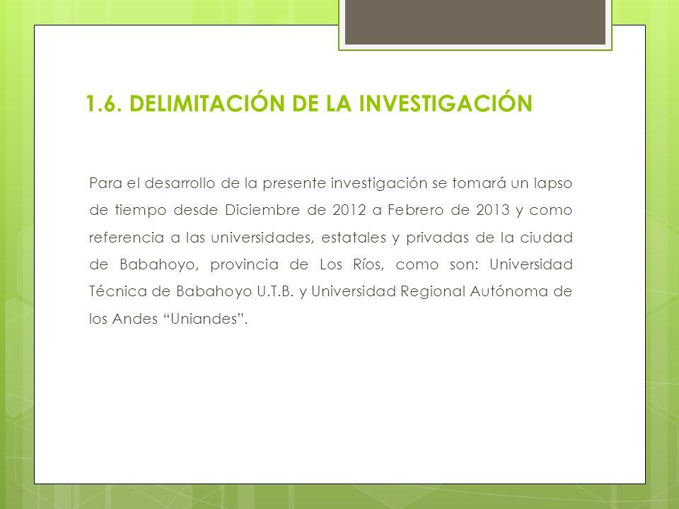 1.6. DELIMITACIÓN DE LA INVESTIGACIÓN Para el desarrollo de la presente investigación se tomará un lapso de tiempo desde Diciembre de 2012 a Febrero d
