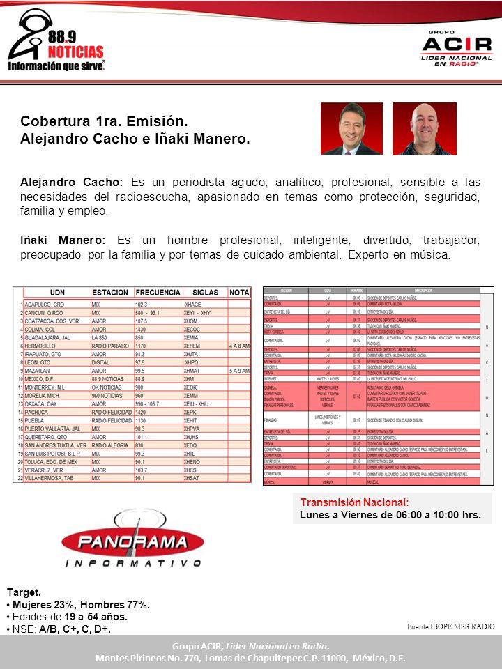 Cobertura 1ra. Emisión. Alejandro Cacho e Iñaki Manero. Transmisión Nacional: Lunes a Viernes de 06:00 a 10:00 hrs. Alejandro Cacho: Es un periodista
