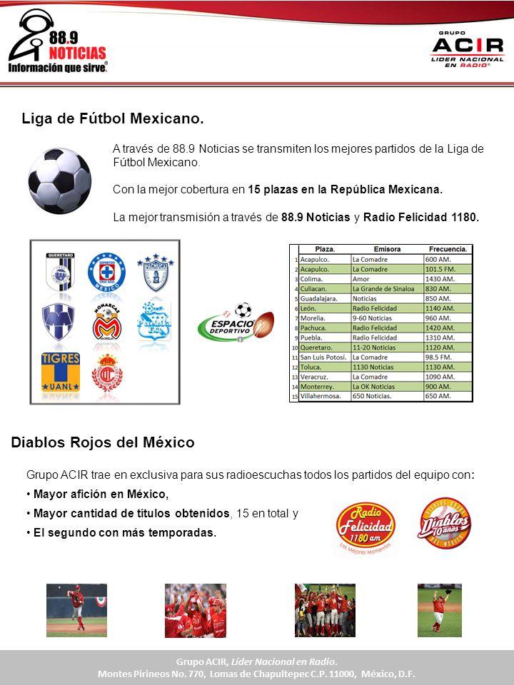 Grupo ACIR trae en exclusiva para sus radioescuchas todos los partidos del equipo con: Mayor afición en México, Mayor cantidad de títulos obtenidos, 1
