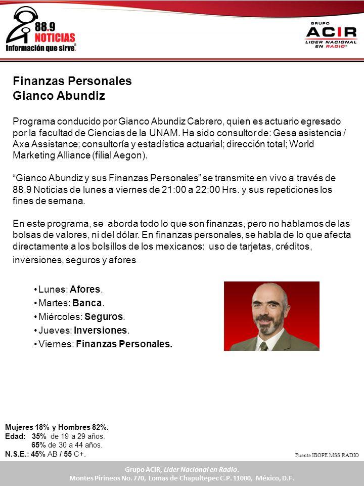 Programa conducido por Gianco Abundiz Cabrero, quien es actuario egresado por la facultad de Ciencias de la UNAM. Ha sido consultor de: Gesa asistenci