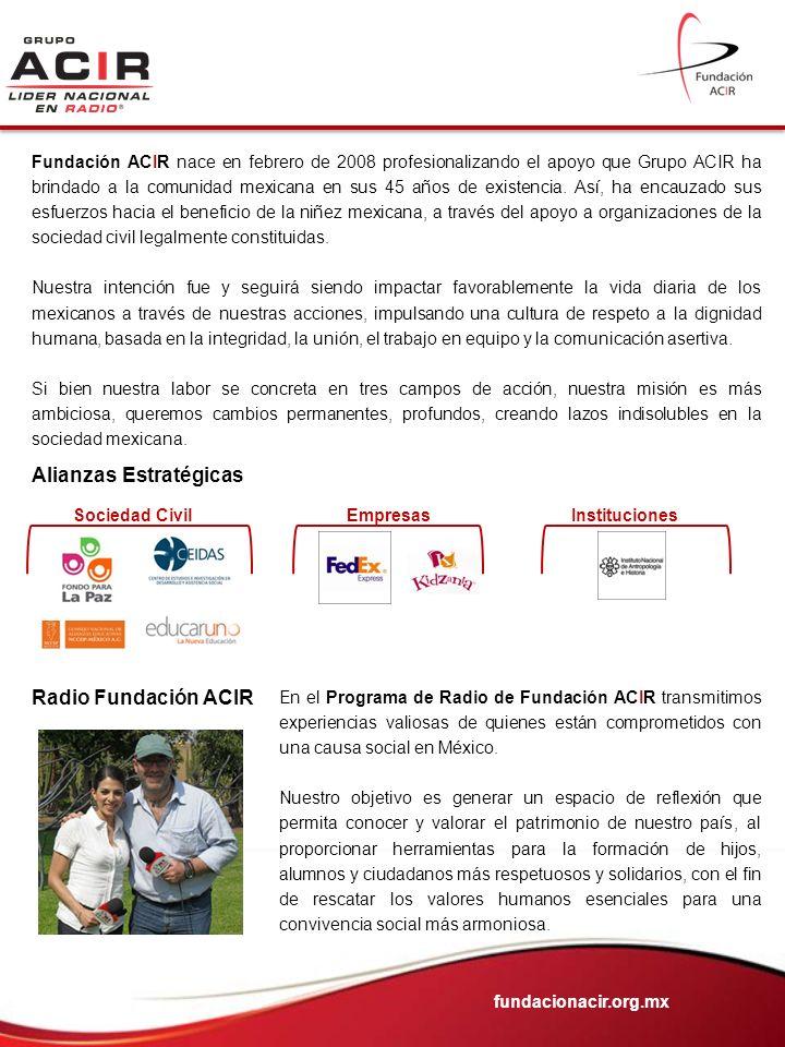 Fundación ACIR nace en febrero de 2008 profesionalizando el apoyo que Grupo ACIR ha brindado a la comunidad mexicana en sus 45 años de existencia. Así
