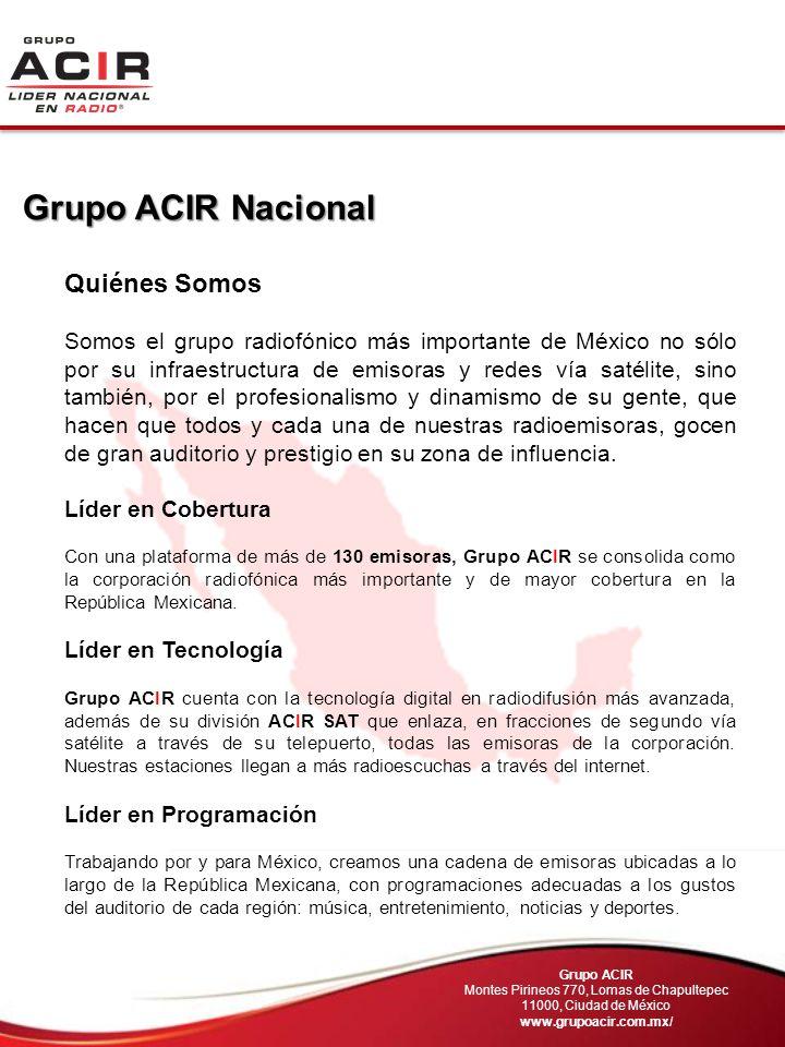 Quiénes Somos Somos el grupo radiofónico más importante de México no sólo por su infraestructura de emisoras y redes vía satélite, sino también, por e