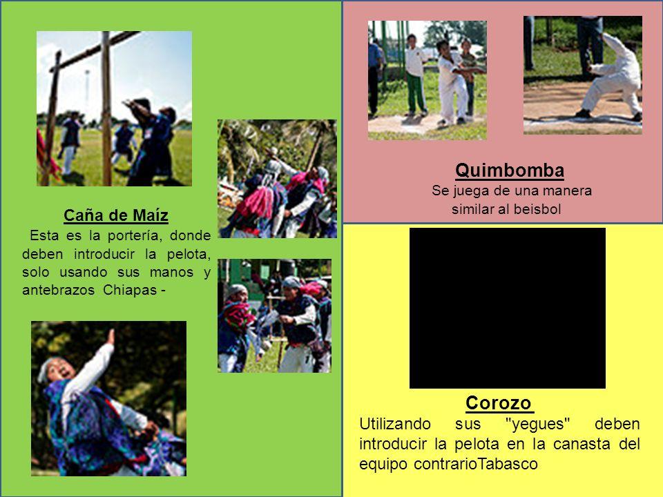 Caña de Maíz Esta es la portería, donde deben introducir la pelota, solo usando sus manos y antebrazos Chiapas - Quimbomba Se juega de una manera simi